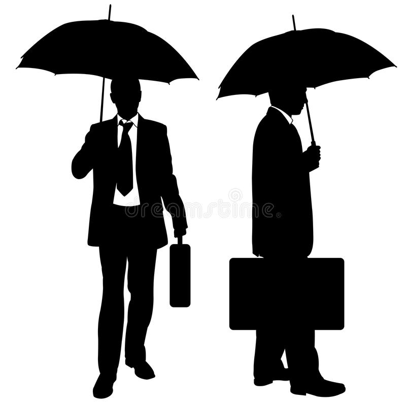 Set of businessmen with umbrellas. Isolated on white royalty free illustration