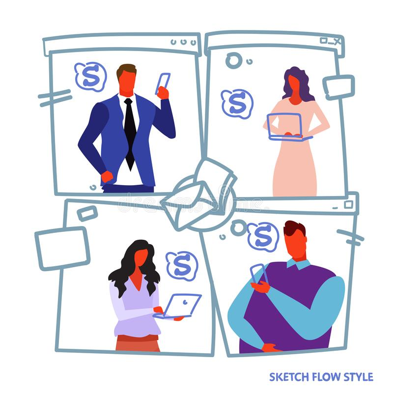 Set businesspeople using digital gadgets to earn money dollar growth wealth concept business people holding smartphone stock illustration