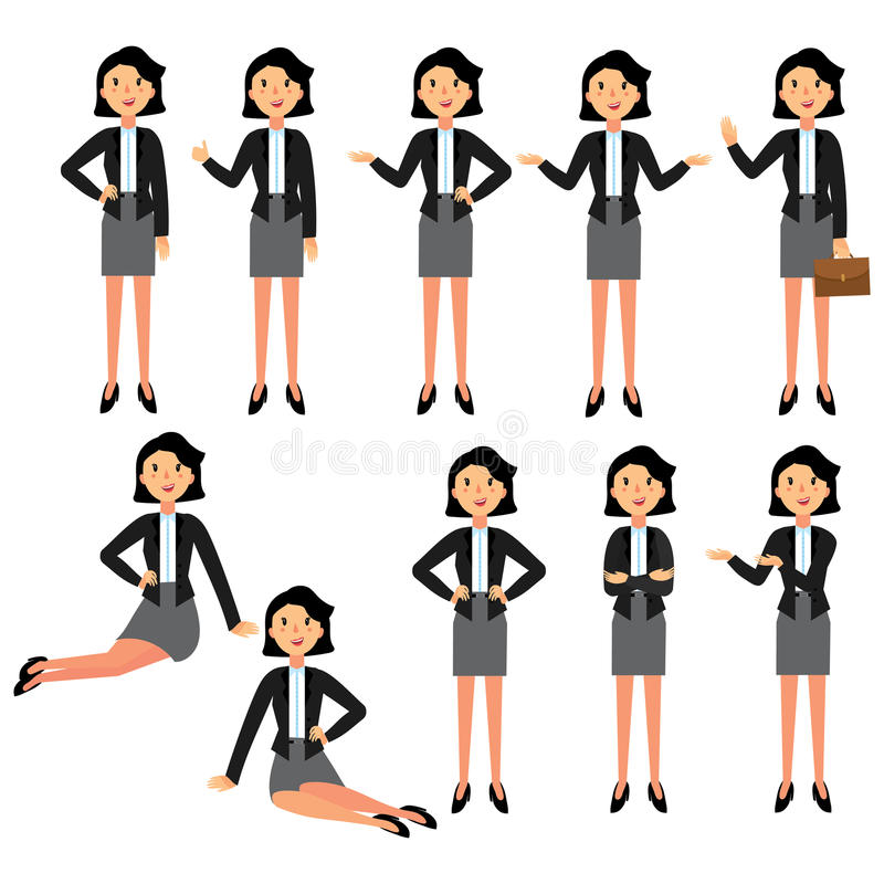 Set of Businesswoman character design. A collection of cartoon businesswoman. A nice woman in a business suit stock illustration