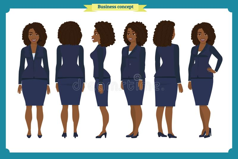 Set of Businesswoman character design. Front, side, back. Business girl. Cartoon style, flat vector isolated. African American vector illustration