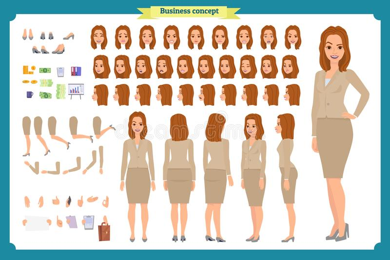 Set of Businesswoman character design.Front, side, back view animated character.Business girl. Cartoon, flat vector isolated royalty free illustration