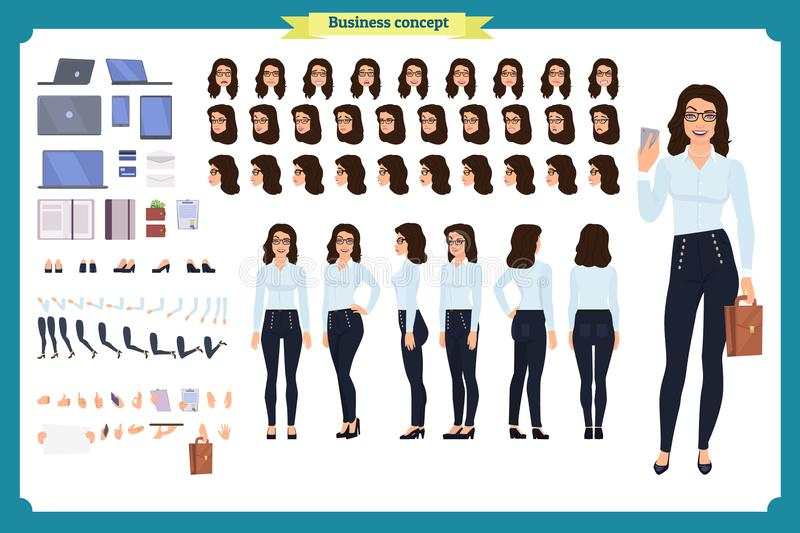 Set of Businesswoman character design.Front, side, back view animated character.Business girl character creation. Set with various views, poses and gestures vector illustration
