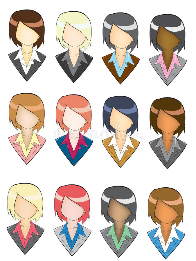 Download Set Of Businesswoman Icon In Pencil Line Style Stock Photography - Image: 32210622