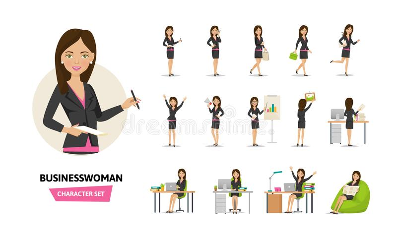 Set of businesswoman working character in office work situations. vector illustration