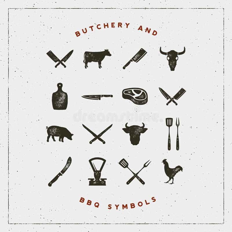 Set of butchery and barbecue symbols with letterpress effect. vector illustration. Set of butchery and barbecue symbols with letterpress effect. hand drawn stock illustration