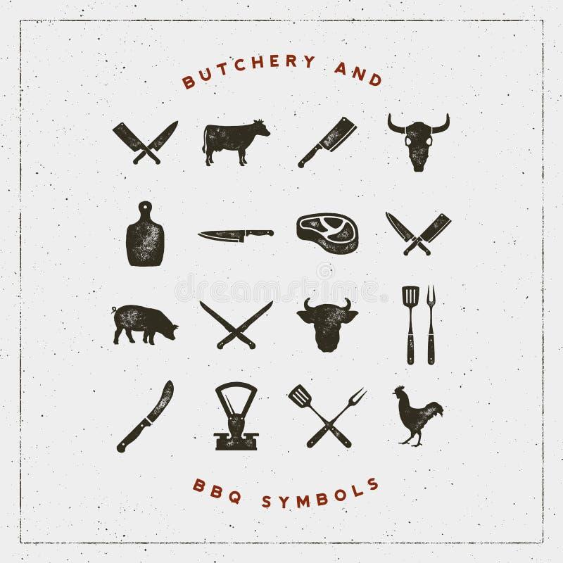 Set butchery i grilla symbole z letterpress skutkiem również zwrócić corel ilustracji wektora ilustracji