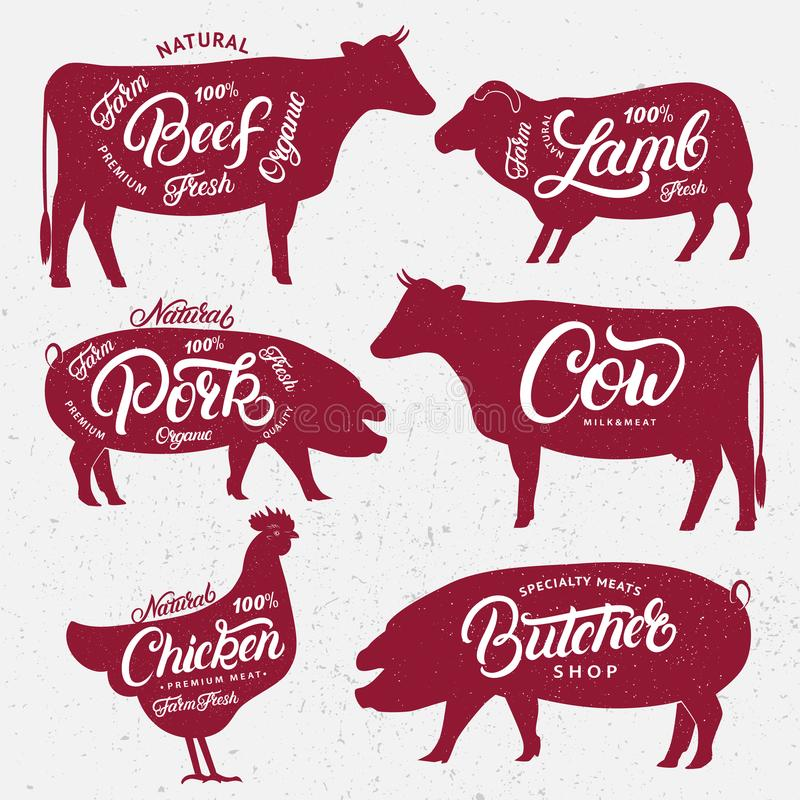 Set of butchery logos, labels, emblems, posters templates. Set of butchery logo, label, emblem, poster. Farm animals with lettering words. Vintage style. Farm vector illustration