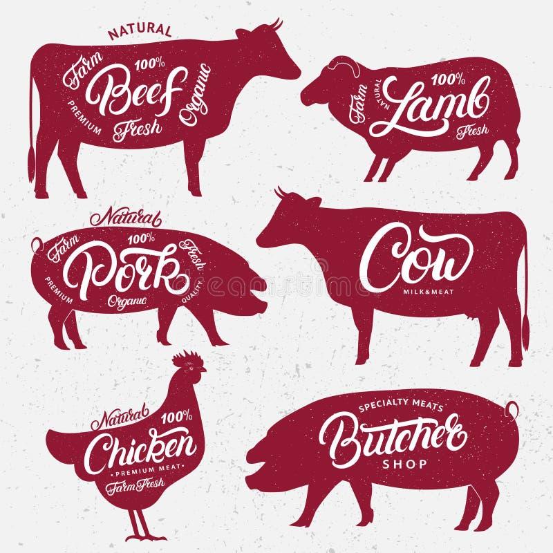 Set butchery logowie, etykietki, emblematy, plakatów szablony ilustracja wektor