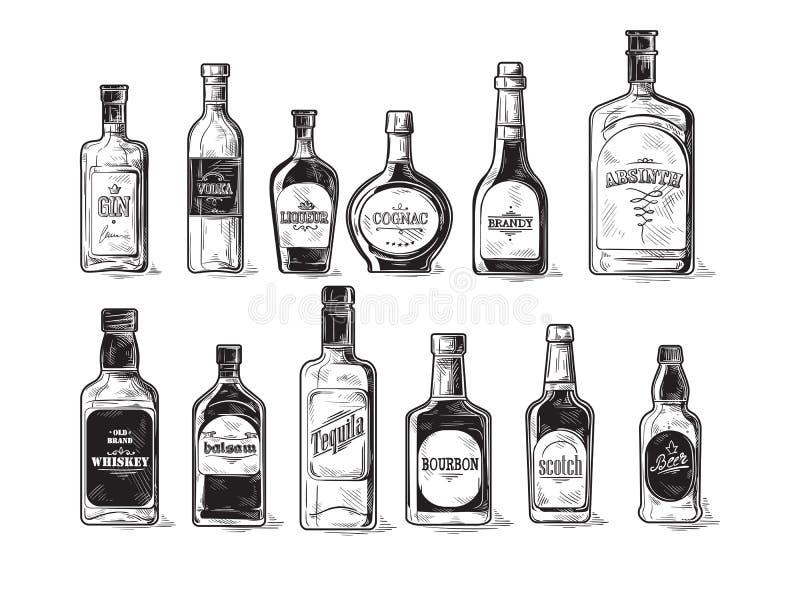 Set butelki dla alkoholu royalty ilustracja