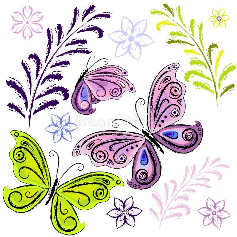 Set butterflies and butterflies stock illustration