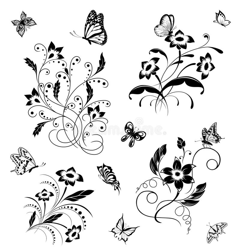 Download Set With Butterflies And Flower Patterns Stock Vector - Image: 20736375