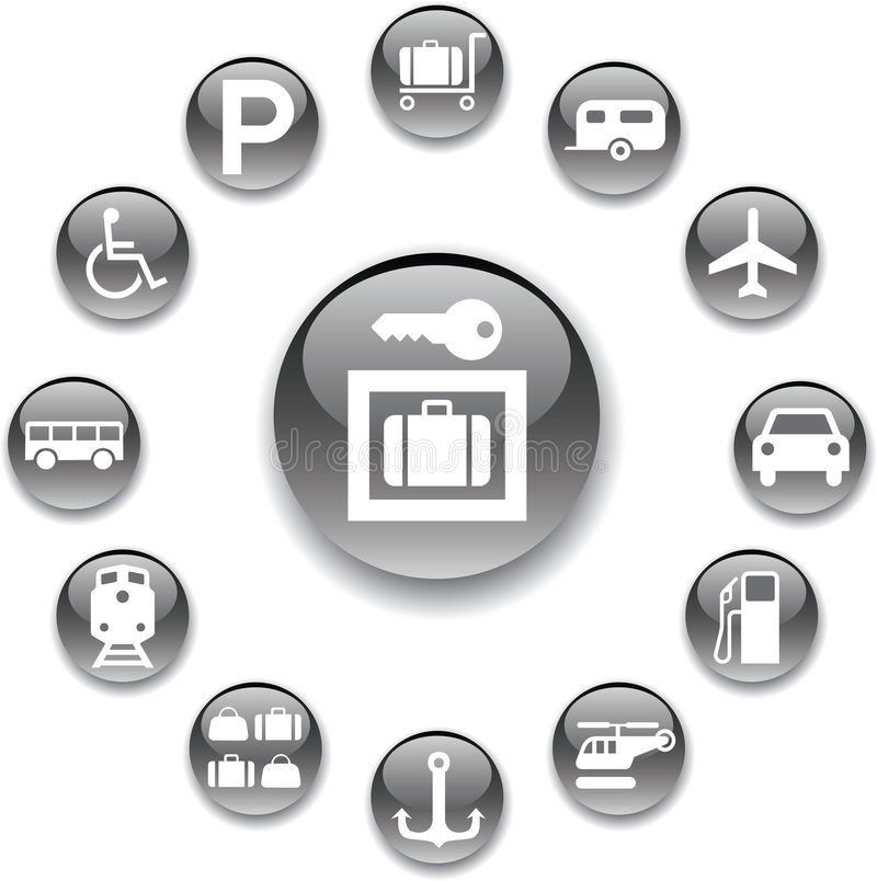 Free Set Buttons - 107_A. Transport Icons Stock Photo - 8486120