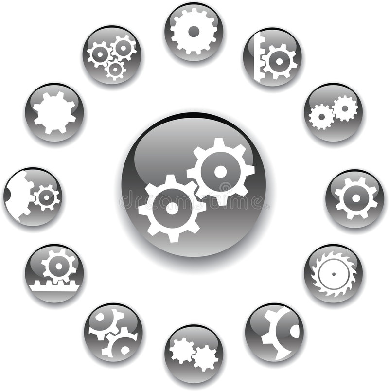 Set buttons - 18_A. Gears vector illustration