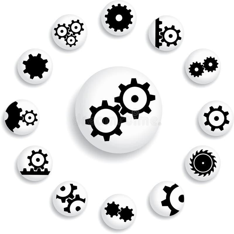 Set buttons 18B. Gears vector illustration