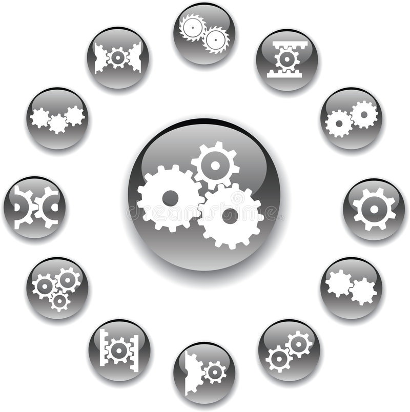 Set buttons 31A. Gears royalty free illustration