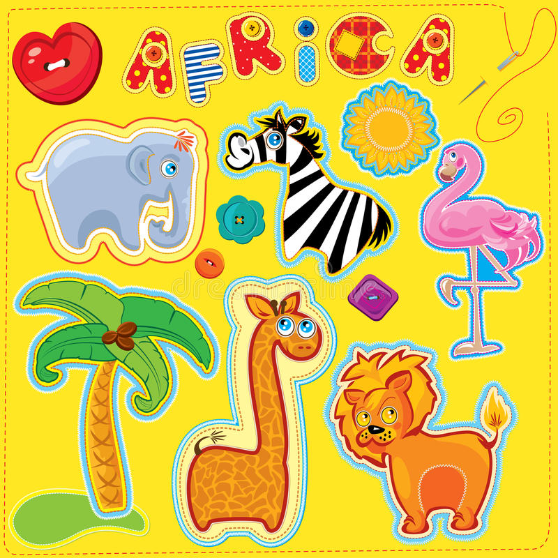 Set of buttons, cartoon animals and word AFRICA - stock illustration