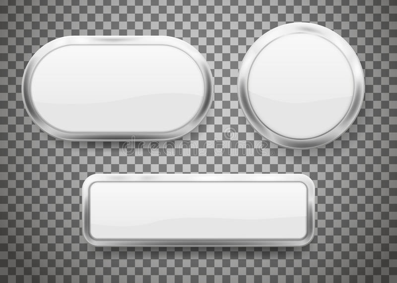 Set of Buttons with chrome frame on transparent background. Vector illustration. vector illustration