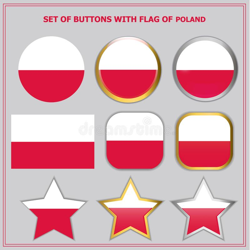 Set of buttons with flag of Poland. Bright set of buttons with flag of Poland. Colorful illustration with flag for web design. Illustration with grey background stock illustration