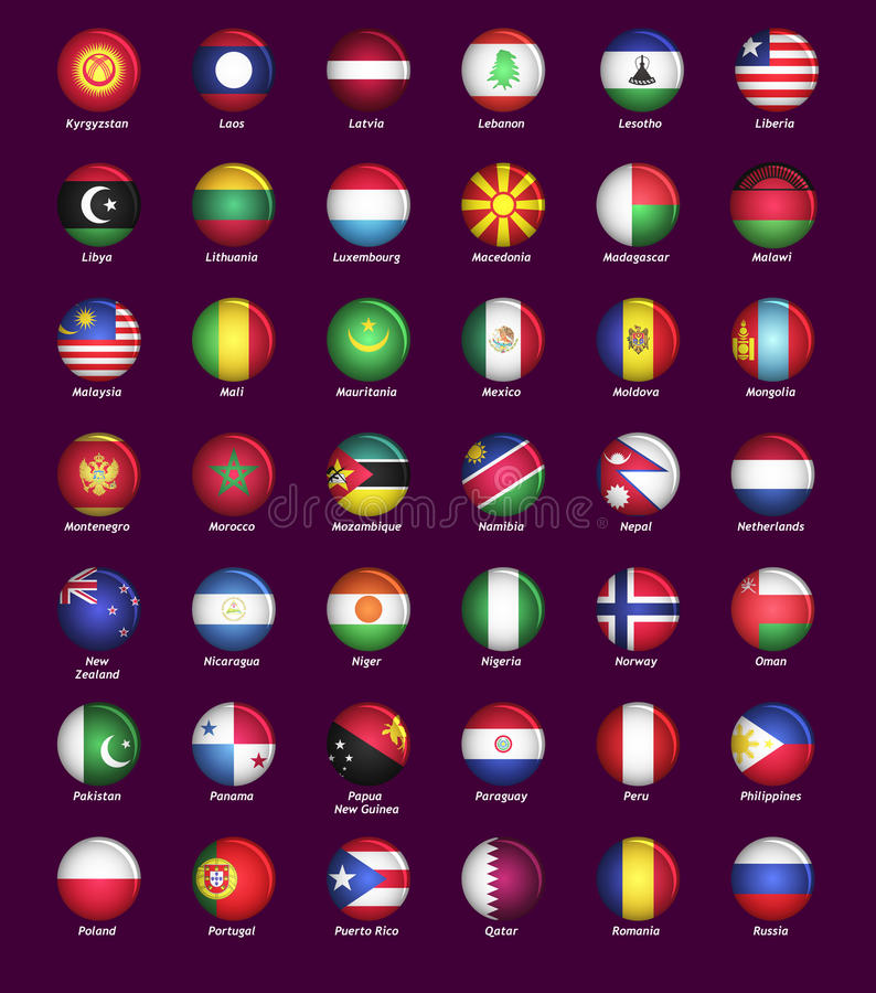 Set of buttons with flags royalty free illustration