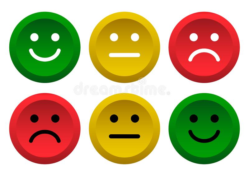 Set of buttons. Green, yellow, red smileys emoticons icon positive, neutral and negative. Vector illustration. Set of buttons. Green, yellow, red smileys royalty free illustration