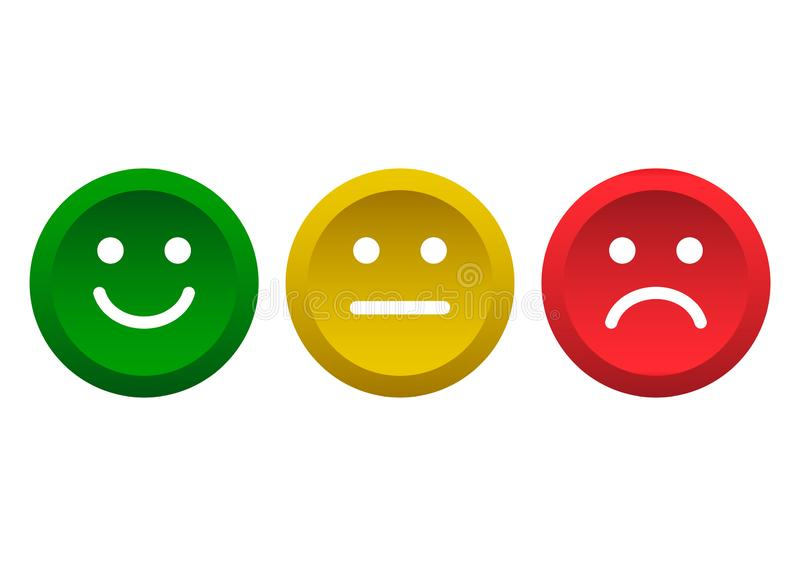 Set of buttons. Green, yellow, red smileys emoticons icon positive, neutral and negative. Vector illustration. Set of buttons. Green, yellow, red smileys stock illustration