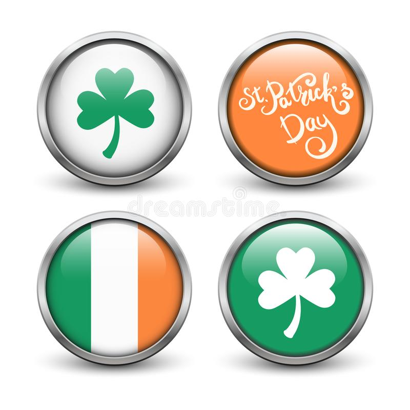 Set of buttons with symbols of St. Patrick`s Day. stock photo
