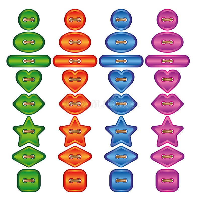 Set of buttons. Vector illustration. Bright colors buttons on white background stock illustration