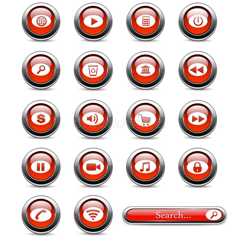 Download Set of buttons stock vector. Image of icon, lock, pause - 39820730
