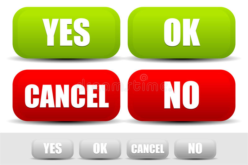 Set of buttons with words Yes, Ok, Cancel, No. Buttons for confirmation. vector illustration