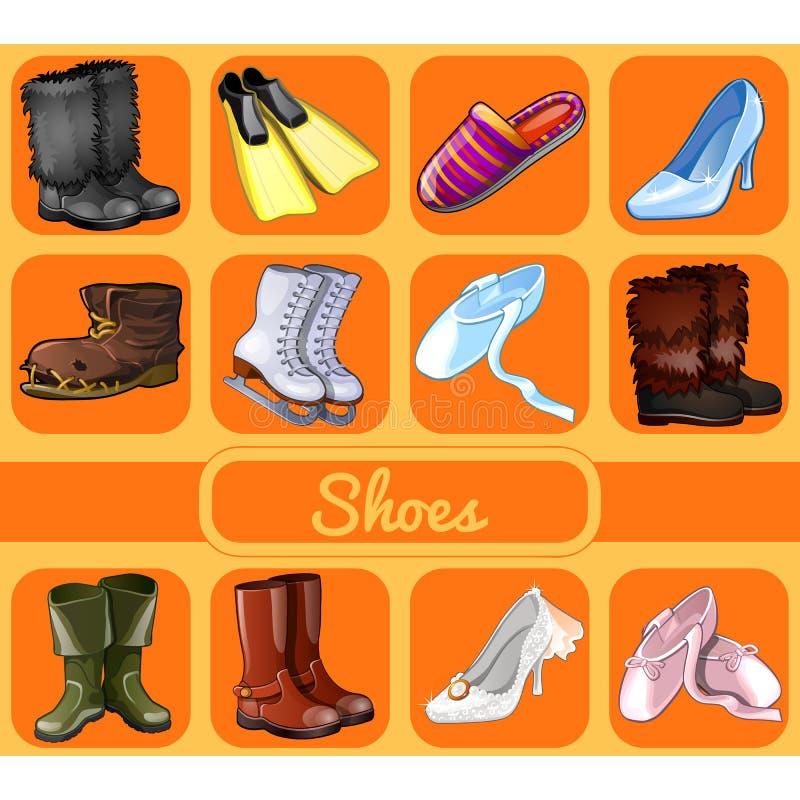 Set buty dla wszystkie okazj Kreśli dla wakacyjnego majcheru, grępluje zaproszenie lub bawi się, Sporty, świąteczni, przypadkowi  ilustracja wektor