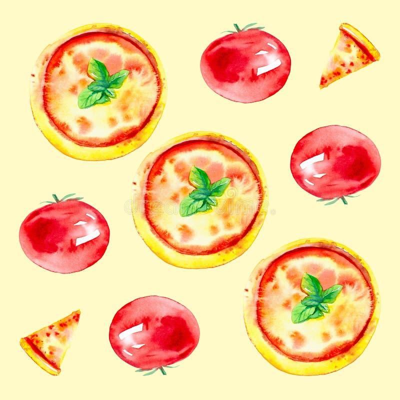 Set całe pizze, plasterki pizza i pomidory, Akwareli ilustracja odizolowywająca na żółtym tle bezszwowy wzoru ilustracja wektor