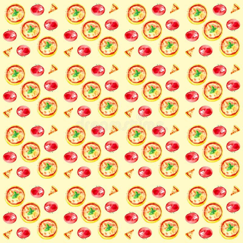 Set całe pizze, plasterki pizza i pomidory, Akwareli ilustracja odizolowywająca na żółtym tle bezszwowy wzoru ilustracji