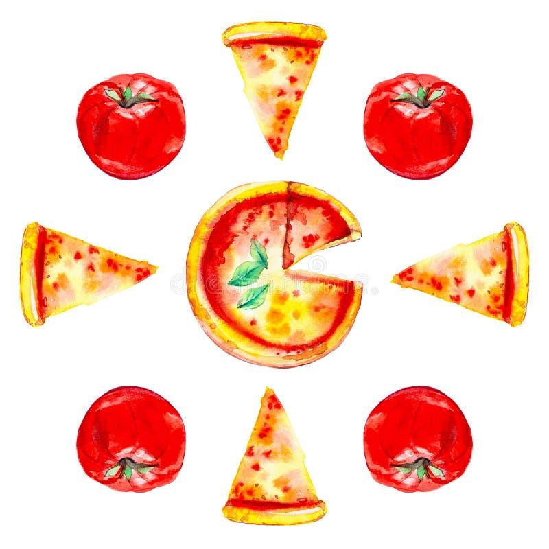 Set całe pizze, plasterki pizza i pomidory, Akwareli ilustracja odizolowywająca na białym tle bezszwowy wzoru ilustracja wektor