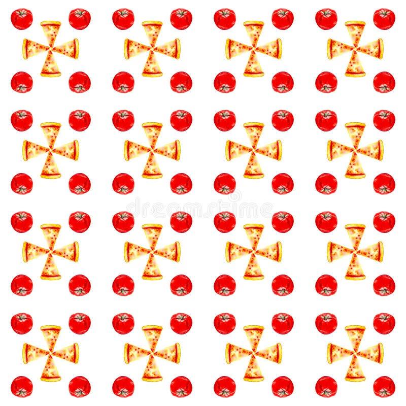 Set całe pizze, plasterki pizza i pomidory, Akwareli ilustracja odizolowywająca na białym tle bezszwowy wzoru royalty ilustracja