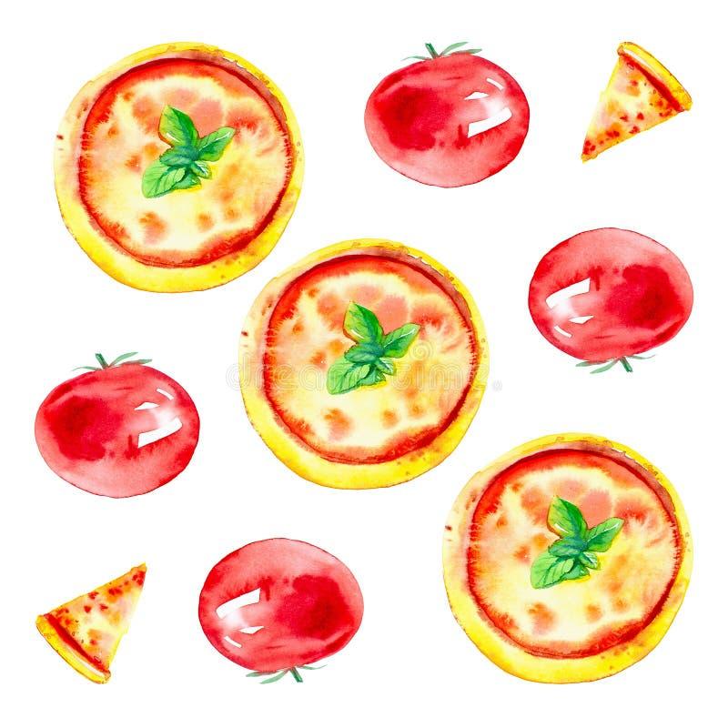 Set całe pizze, plasterki pizza i pomidory, Akwareli ilustracja odizolowywająca na białym tle bezszwowy wzoru ilustracji