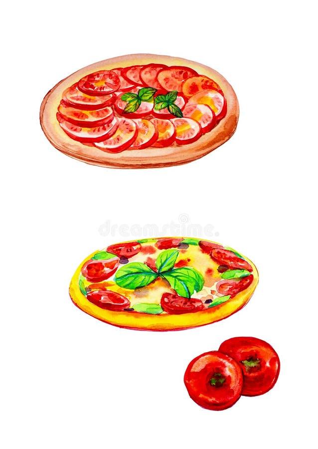 Set całe pizze i pomidory Akwareli ilustracja odizolowywająca na białym tle ilustracji