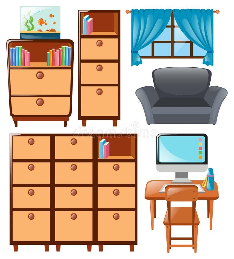 Set of cabinets and other furnitures. Illustration royalty free illustration