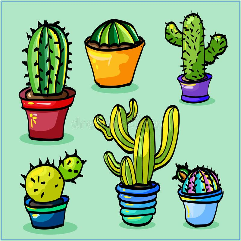 Set with cacti of different shapes stock photo