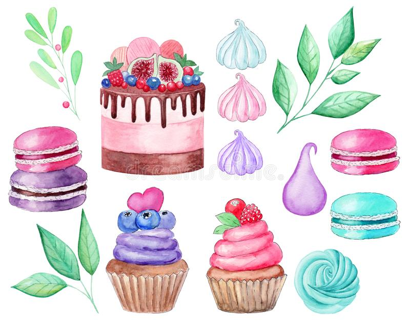 Set cake, cupcake, macaroons, marshmallows, branches watercolor illustration on white background. Hand drawn royalty free illustration