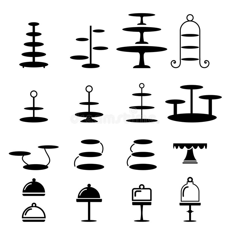 Set of cake stand in silhouette icon vector illustration