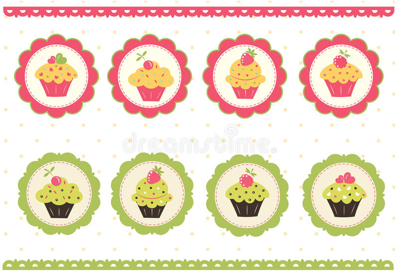Set of cake stickers vector illustration
