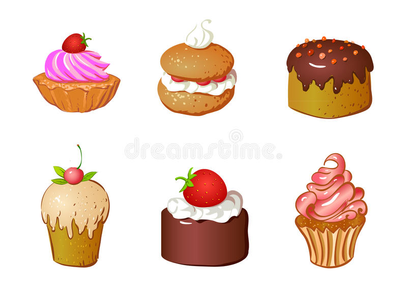 Download Set of cakes stock vector. Image of baked, colored, isolated - 15669277