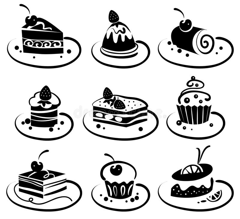 Download Set of cakes stock vector. Image of plate, design, element - 23457195