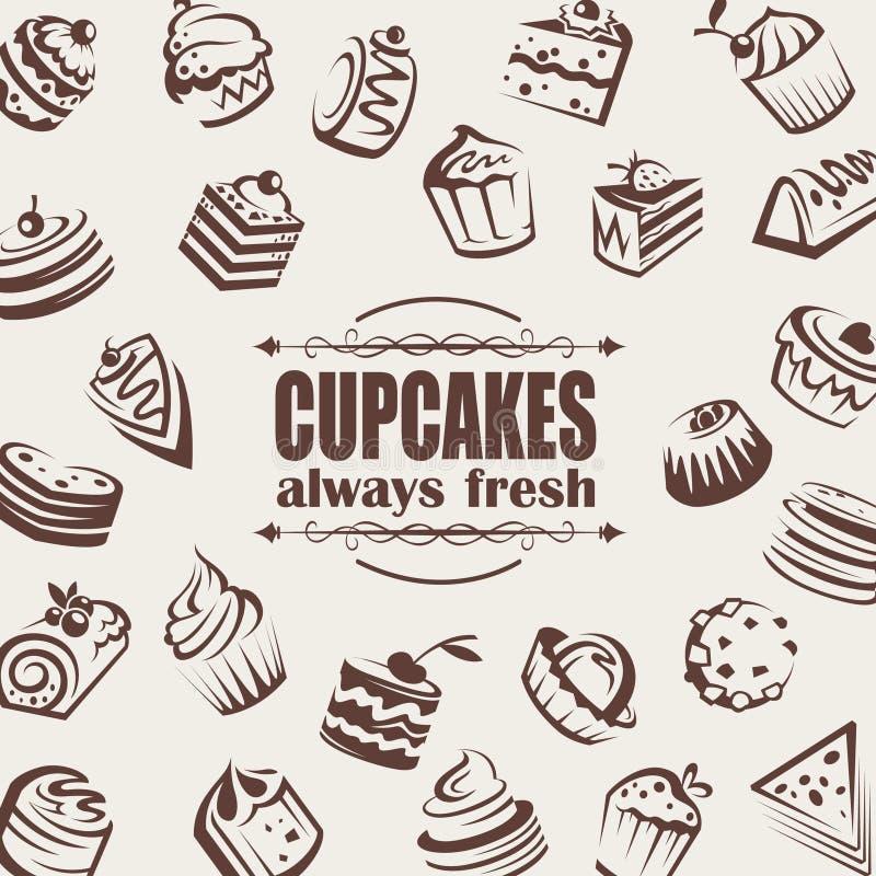 Set of cakes stock illustration