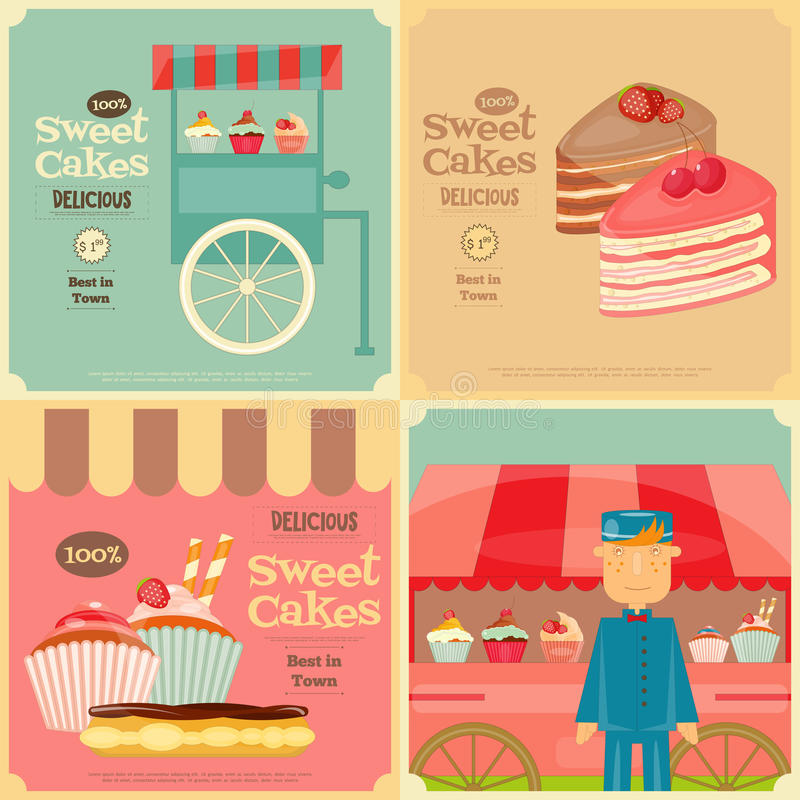 Set of Cakes Mini Posters royalty free illustration