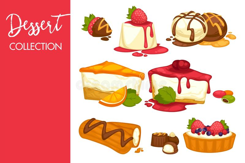 Set of cakes, sweets, icecream deserts with cream and dessert. Vector illustrations isolated on white background stock illustration