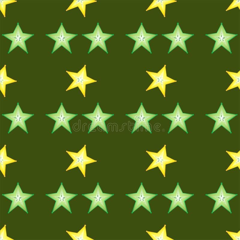 Set of calambol slieces on green background. A lot of sweet carambola in one picture. Nice coloures and shapes stock illustration