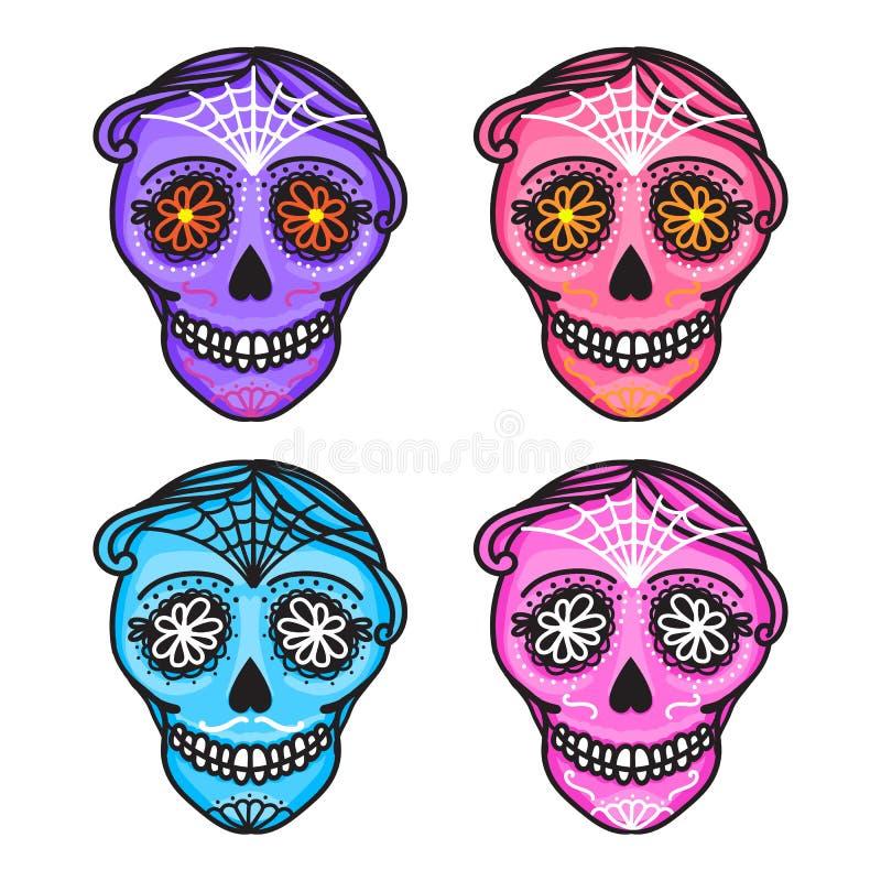 Set Calavera sign Dia de los muertos. Mexican Day of the dead. Vector hand darwing illustration woman and man sticker. Set Calavera sign Dia de los muertos vector illustration