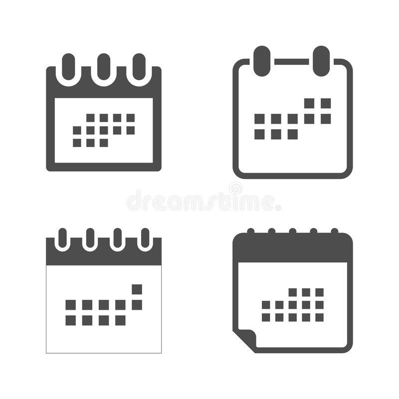 Set calendar icon in flat style. Calendar symbol for your web site design, logo, app, UI. stock illustration