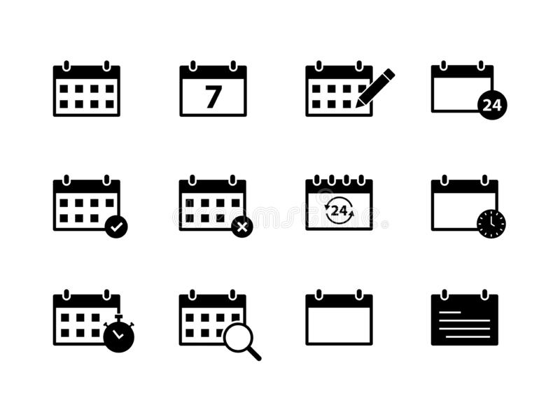 Set of Calendar icons. Time and seasons. Day, Week, Months, Year. Vector illustration stock illustration